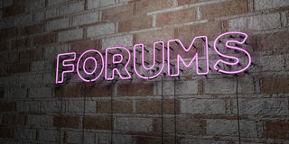 FORUMS - Glowing Neon Sign on stonework wall - 3D rendered royalty free stock illustration. Can be used for online banner ads and direct mailers Stock Photo