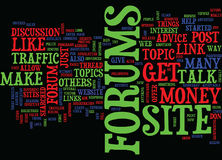 Forums Talk And Make Money Text Background  Word Cloud Concept Stock Image
