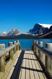 Forward. Bridge leading to Bow Lake,Alberta,Canada Stock Image