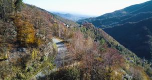 Forward aerial top view over yellow vintage car travelling on road in colorful autumn forest.Fall orange,green,yellow. Forward aerial top view over car stock video