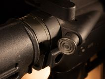 Forward assist. Button on a modern sporting rifle Royalty Free Stock Image