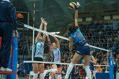 Forward attacks. MOSCOW, RUSSIA - DECEMBER 2: N. Obmochaeva (Dynamo (MSC) 8 while playing on women's Rissian volleyball Championship game Dynamo (MSC) vs Dynamo stock photo