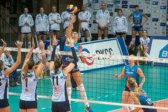 Forward attacks. MOSCOW, RUSSIA - DECEMBER 2: Unidentified players in action during the game on women's Rissian volleyball Championship game Dynamo (MSC) vs stock image