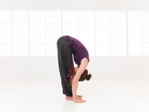Forward bending begginer stretching yoga pose. Forward bending yoga pose, shown by younf female, dreesed colorful, on white background, side view in studio Stock Image