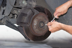 Forward brake on the car repairing Stock Photo