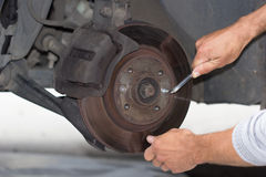 Forward brake on the car repairing Stock Photography