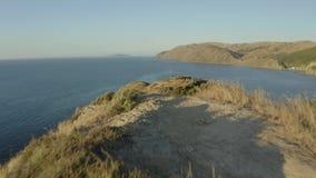 Beautiful hiking trail on coastline of New Zealand 4k stock video
