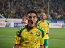 Forward fc kuban Lorenzo Melgarejo celebrates the goal scored Royalty Free Stock Image