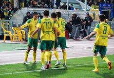 Forward fc kuban lorenzo melgarejo with partners celebrate a goal scored Stock Photo
