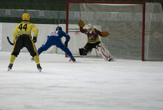 Forward and goalkeeper Royalty Free Stock Image