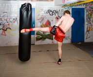 Forward kick. Muay Thai fighter giving a forceful  kick during a practice round with a boxing bag Stock Photography