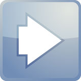 Forward navigation icon. Glossy button, square shape Royalty Free Stock Photography