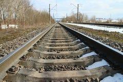 Forward rails of railway. Rails of railway forward go into distance Stock Photos