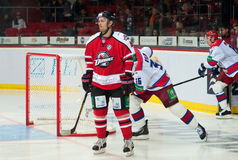 Forward Sergei Varlamov Donbass (Donetsk), defender Jacob Rilov and forward Viktor Kozlov CSKA (Moscow) before the start of the ga Stock Images