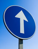 Forward Sign. A blue sign with a white arrow pointing forwards/up Royalty Free Stock Images
