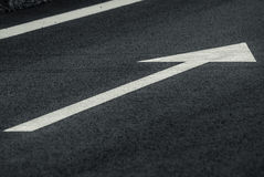Forward arrow sign horizontal road. A Sign on The Road for the Lane straight Stock Photography