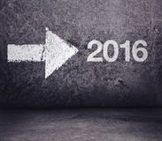 Forward to 2016 New Year. Arrow Pointing to Direction of New Year stock illustration