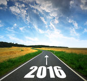 Forward to the New Year 2016. Asphalted road at sunset .Forward to the New Year 2016 royalty free stock image