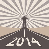 Forward to 2014 new year concept. Asphalt road with arrow Stock Photos