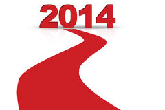 Forward to 2014 new year concept. A red line forward to 2014 new year Royalty Free Stock Photography