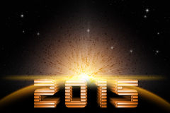 Forward to 2015 new year in space Royalty Free Stock Photography