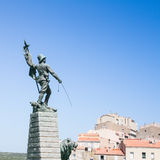 Forward troops; let's board!. Military statue on Bonifacio - France stock photography