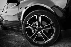 Forward wheel of the new car Stock Photos