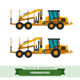 Forwarder forestry vehicle stock illustration