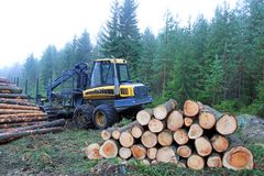 Forwarder at Logging Site Stock Photos
