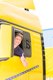 Forwarder or truck driver in drivers cap royalty free stock image