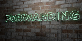 FORWARDING - Glowing Neon Sign on stonework wall - 3D rendered royalty free stock illustration Stock Photo