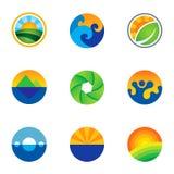 Forza di belle icone di logo del fondo del paesaggio del cerchio della natura messe Fotografia Stock
