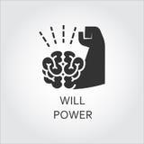 Forza di volontà piana nera dell'icona di vettore come mano del muscolo e del cervello Fotografie Stock Libere da Diritti