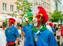 Forza Italia. Gdansk, Poland - 10 June, 2012 - Italian football fans on the streets of Gdansk, before the match group with Spain Royalty Free Stock Photography