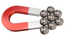 Forza magnetica del metallo di tirata dell'attrazione dei cuscinetti a sfera del magnete fotografie stock libere da diritti