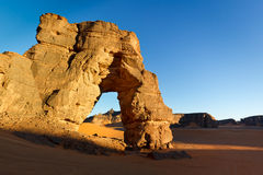 Forzhaga Natural Rock Arch - Akakus Mountains Royalty Free Stock Photography