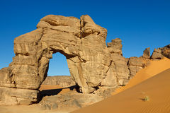 Forzhaga Natural Rock Arch - Akakus Mountains Royalty Free Stock Images