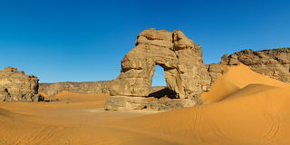 Forzhaga Natural Rock Arch, Akakus, Sahara, Libya Royalty Free Stock Images