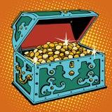 Forziere con le monete dorate illustrazione vettoriale