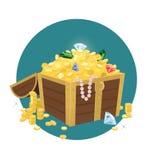 Forziere con le monete dorate Fotografie Stock Libere da Diritti