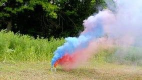 Foschia bruciante della natura dei chiarori del fumo del partito due all'aperto video d archivio