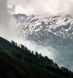 Foschia che si alza sopra il Treeline nelle montagne di Snowy immagine stock