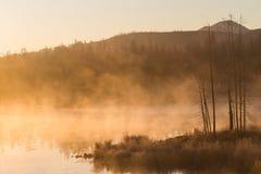 Foschia del lago nel primo mattino Immagini Stock