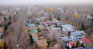 foschia di Edmonton della città Fotografia Stock