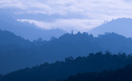 Foschia di mattina all'intervallo di montagna tropicale, Tailandia Fotografia Stock