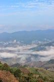 Foschia di mattina vicino al 'chi' Fa di Phu nel distretto di Thoeng, Chiang Rai Province, Tailandia Immagine Stock Libera da Diritti