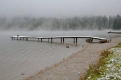 Foschia di primo mattino sul lago fotografia stock libera da diritti
