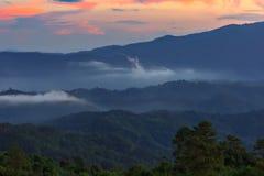 Foschia e nebbia di mattina che si muovono lentamente dal punto di vista nell'alba all'alta montagna in Chiangmai, Tailandia Immagini Stock