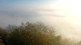 Foschia pesante magnifica nel paesaggio Alba del fogy di autunno in una campagna La collina aumentata da nebbia, la nebbia è colo stock footage