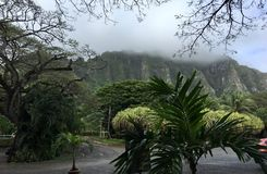 Foschia sopra la montagna di Oahu immagine stock